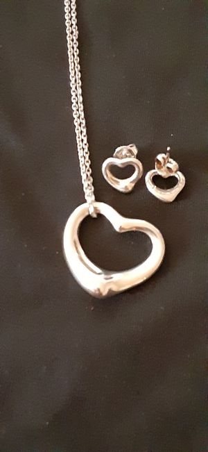 Tiffany Silver Heart necklace and Heart earrings for Sale in Richardson, TX