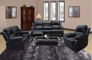 Reclining set 3pc Black leather for Sale in Puyallup, WA