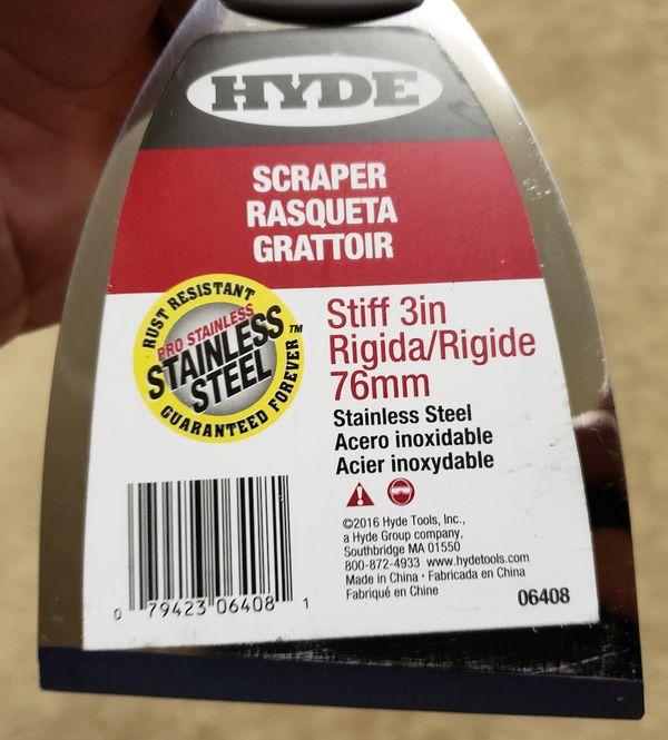 "2 x Hyde Stainless Steel 3"" Stiff Scraper"