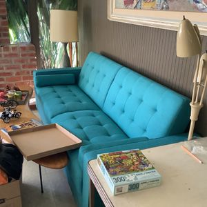 Blue Futon Sofa Sleeper for Sale in Los Gatos, CA