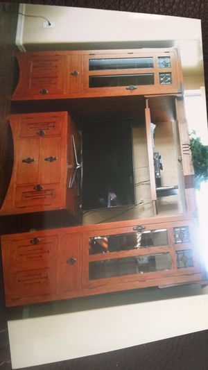 Solid Oak Entertainment Adjustable top and glass shelves for Sale in Apache Junction, AZ