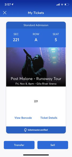 Post Malone front row of section 221 for Sale in Tempe, AZ