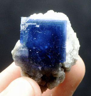 Natural phantom cube blue fluorite specimen with calcite and tiny quartz. for Sale for sale  Tinton Falls, NJ