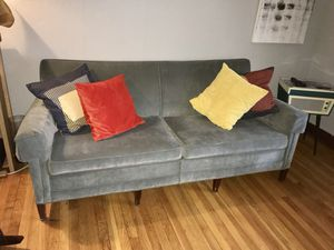 Mid Modern Grey velvet Couch for Sale in St. Louis, MO