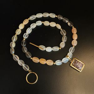 14k Gold Moonstone Necklace Solid Gold Lodalite Seer Quartz Necklace 14k Gold Magic Shaman Necklace for Sale in Hyrum, UT