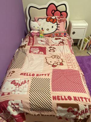 Hello Kitty twin bed + mattress + bedding + stuffed animals for Sale in Lynnwood, WA