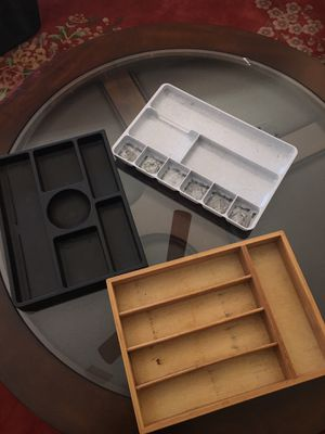 Kitchen / Desk drawers organizers: 1 wood and two thick plastic for Sale in Glendale, AZ