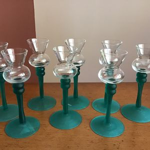 """Vintage~Set Of 12 Cordial Aperitif Sherry Frost Green Stemware Glasses.. 6"""" High for Sale in Brooklyn, NY"""