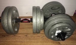 Weights 100+ total pounds 8x10lb,4x5lb and a set of steel dumbbell handles for Sale in Covina, CA