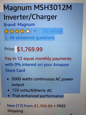 Magnum Inverter // charger MSH3012M never used for Sale in Corona, CA