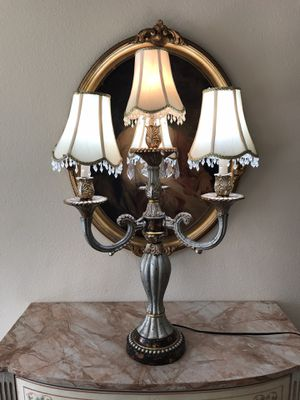 Antique Vintage French Hollywood Regency Large Gold Silver Candelabra Lamp for Sale in Laguna Beach, CA