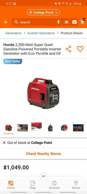 Honda generator 2,200 watts for Sale in Queens, NY