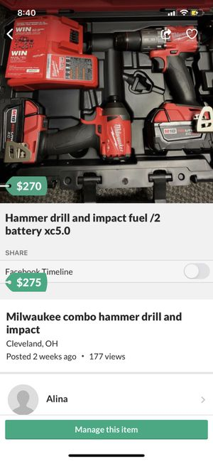 Hammer drill and impact fuel/2 battery xc5.0 for Sale in Cleveland, OH