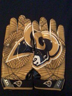 NIKE VAPOR JET 4 NFL L.A. RAMS ADULT 2XL RECEIVERS FOOTBALL GLOVES, PGF-415-423 for Sale in Glendora,  CA