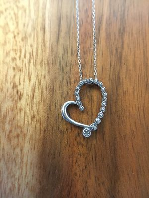 925 Sterling Silver Heart Pendant Necklace for Sale in Hesperia, CA