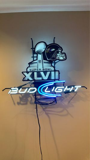 Bud Light Ravens Neon- Super Bowl for Sale in Hagerstown, MD