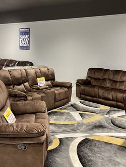 Barcelona Chocolate Reclining Sofa, Loveseat And Chair Set On Sale! We Offer No Credit Needed Financing! for Sale in Lakeland,  FL