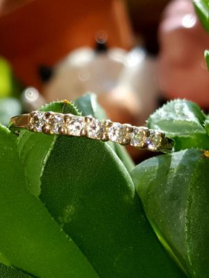IAM gold plated over 925 Sterling silver dainty band diamond ring. Size 6. for Sale in Meriden, CT