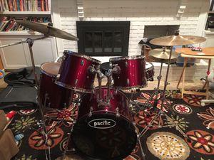 "Pacific 5 piece drum set with hi-hat, 18"" crash ride, 21"" ride for Sale in Fairfax, VA"