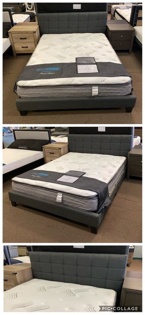 Grey Queen size platform bed frame with Pillow top mattress included for Sale in Glendale, AZ