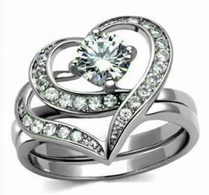 Stainless Steel CZ Heart Wedding Ring Set for Sale in Wichita, KS