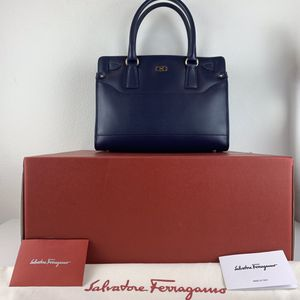 NWT SALVATORE FERRAGAMO BRIANA SATCHEL TOTE BAG NAVY SOFT CALF LEATHER $1,250 for Sale in Los Angeles, CA