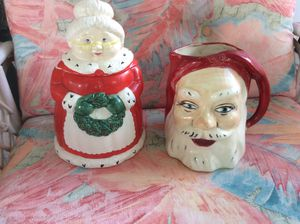 Vintage Santa pitcher and Mrs Claus cookie jar for Sale in Spring Hill, FL