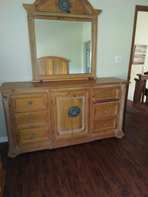 Real wooden bed frame and Dressers for Sale in Seffner, FL