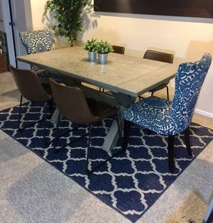 Gray burnished extendable dining trestle table Set with 6 chairs for Sale in San Diego, CA