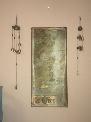 Home Decore: Game of Thrones colon to Unusual Brass Wind Chimes on either side of a Westeros map for Sale in Covington, LA