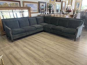 120x120 Dark Gray Thomasville Down Feather & Cushion L Shaped Sectional Couch Sofa Nailhead Accents Excellent Mint Condition for Sale in Lake Worth, FL