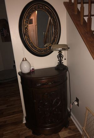 Lamp, Bombay Desk, and mirror for Sale in Lake Ridge, VA