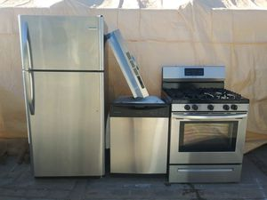 Stainless steel appliances refrigerator 2018 model and dishwasher also a gas stove and hood for Sale in Phoenix, AZ