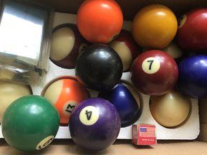 Pool Balls, 3 racks, large chalk &holder, stick holder plus a short stick. All in light oak for Sale in Anderson, SC
