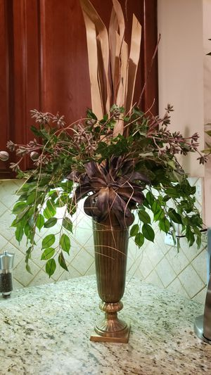 Brass Vase with artificial flowers for Sale in Avondale Estates, GA