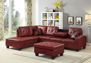 NEW - Red Leather Sectional and Ottoman for Sale in Columbia, MD