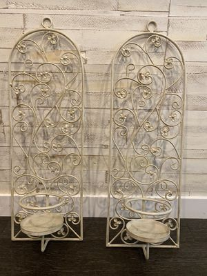 Decorative Metal Pillar Candle Wall Sconce (Set of 2) for Sale in Plainfield, IL