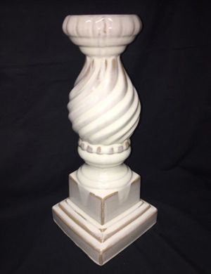 Large Bombay Company ceramic pillar candle holder - ivory w/ golden brown accents for Sale in El Mirage, AZ