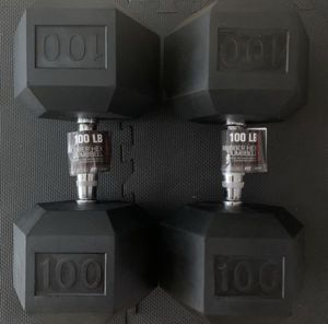 100lb Weider Hex Rubber Dumbbell Set 💪 New Pair 100 pound dumbbells for Sale in Hacienda Heights, CA