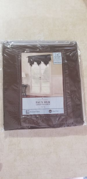 Chocolate Brown Silk Window Valances With Decorative Trim for Sale in Winter Park, FL