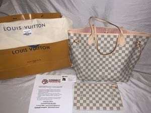 Brand New LOUIS VUITTON NeverFull MM Damier Azur Canvas Handbag N41361 (NOW AVAILABLE FOR PICKUP IN NY & SHIPMENT WORLDWIDE) for Sale in Cedarhurst, NY