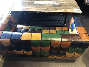 Colorful Retro Leather Couch for Sale in Rockville, MD