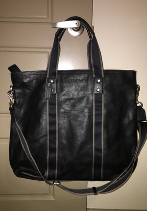 Coach classic black leather weekend travel bag for Sale in Nashville, TN
