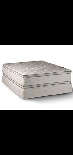 Queen Size Sealy Pillowtop Mattress with Box Spring And Metal Bed Frame for Sale in Renton, WA