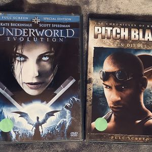 2 DISC SCI-FI DVD SET: Includes Pitch Black The Chronicles Of Riddick & Underworld: Evolution for Sale in Mansfield, TX