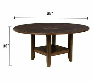 Round Dining Table with 2 Shelves in Brown Cherry Finish for Sale in Chino, CA