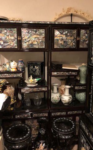 Antique Asian furniture cabinet with pearl inlays for Sale in Aurora, CO