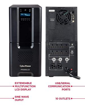 CyberPower PR3000LCD Smart App Sinewave UPS System, 3000VA/2700W, 10 Outlets, AVR, Tower for Sale in Sanger, CA