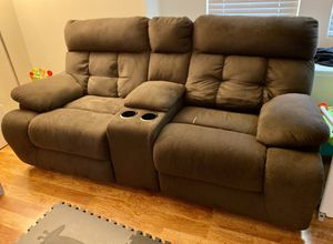Power Reclining Sofa with Center Console for Sale in Modesto, CA