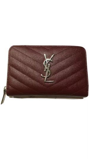 YSL Saint Laurent French Zip Wallet Burgundy for Sale in Calverton, MD